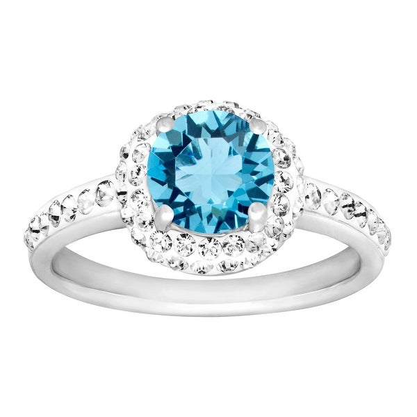 Crystaluxe March Ring with Light Blue Swarovski Elements Crystals in Sterling Silver