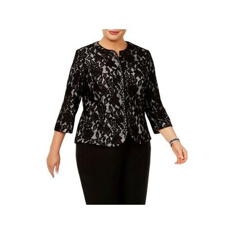Alex Evenings Womens Plus Blazer Lace Metallic