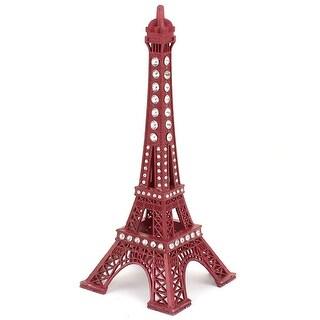"""Unique Bargains Rhinestone Detail Mini France Paris Eiffel Tower Model Desk Ornament 7"""" 18cm Red"""