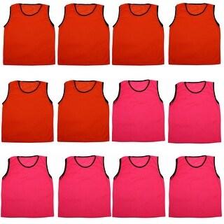 Adult Training Soccer Bib Sports Football Basketball Vest Magenta Orange 12pcs