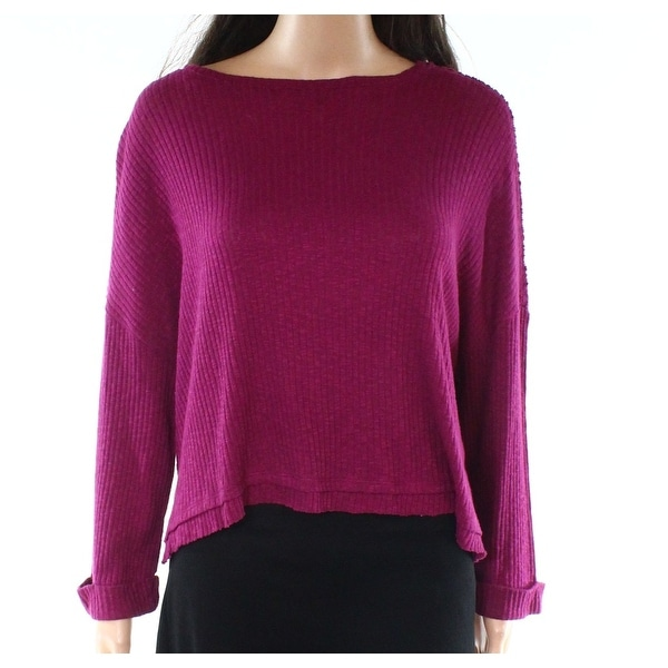 Abound Purple Womens Size XXS Ribbed Cuffed-Sleeve Scoop Neck Knit Top 079