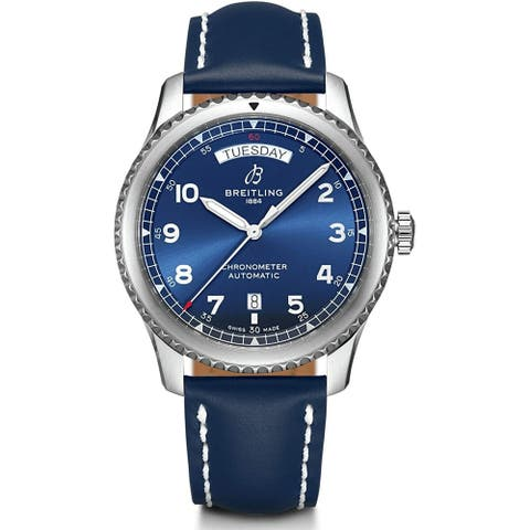 Breitling Men's A4533010-CA10-207X 'Aviator 8' Blue Leather Watch