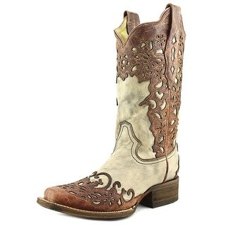 Corral A2870 Women Square Toe Leather Nude Western Boot