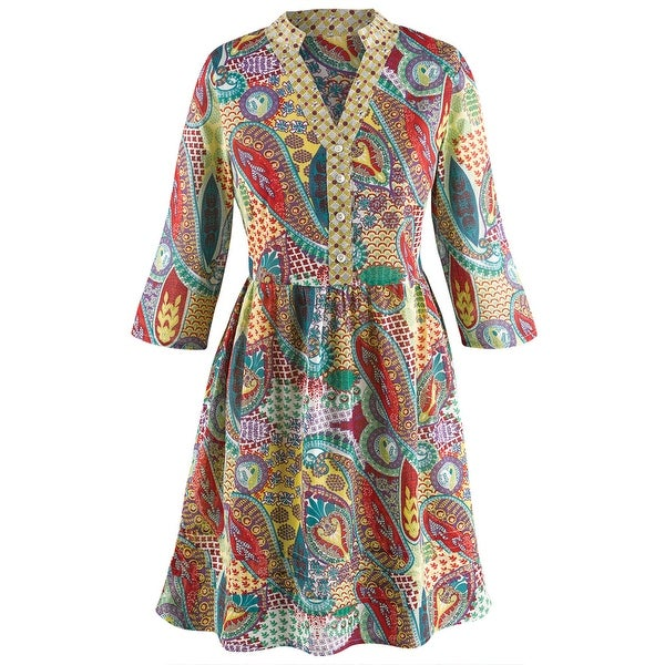 Women's Long Tunic Top - Punch Of Paisley 3/4 Length Sleeve Blouse