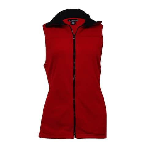 American Living Women's Solid Pocket Fleece Zip Vest