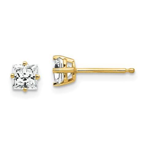 14K Yellow Gold 4mm Princess-cut Cubic Zirconia Earrings by Versil