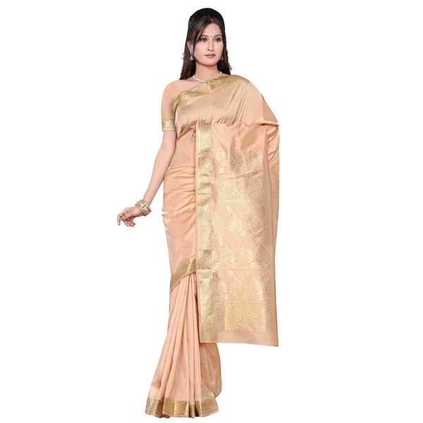Golden - Benares Art Silk Sari / Saree/Bellydance Fabric (India). Opens flyout.