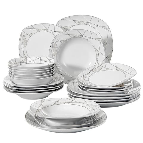 VEWEET 'Serena' Porcelain Dinner Plate Set (Service for 6)