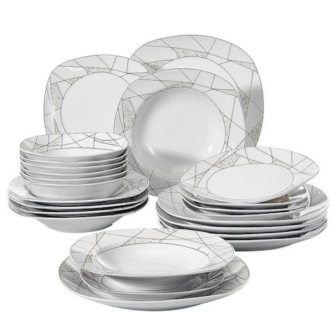 VEWEET 'Serena' Porcelain Dinner Plate Set (Service for 6)