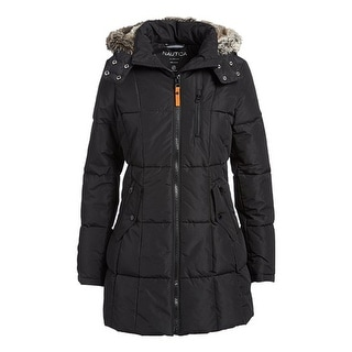 Nautica Women's Faux Fur Hood Puffer Coat, Black, S