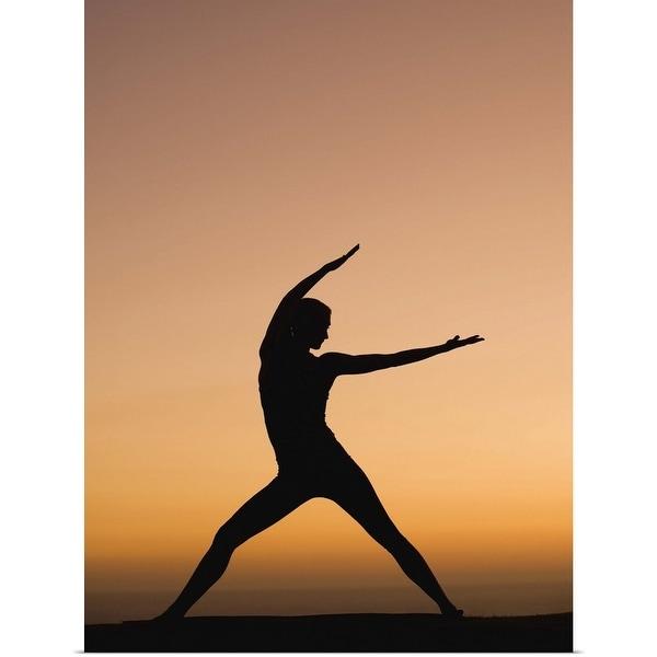 """Silhouette of woman doing yoga"" Poster Print"