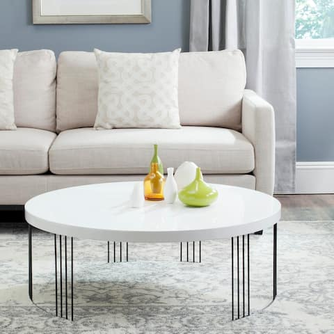 "SAFAVIEH Mid-Century Modern Keelin White Lacquer Coffee Table - 37.4"" x 37.4"" x 13.8"""