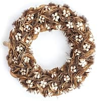 """24"""" White and Tan Brown Natural Cotton and Leaf Decorative Wreath"""