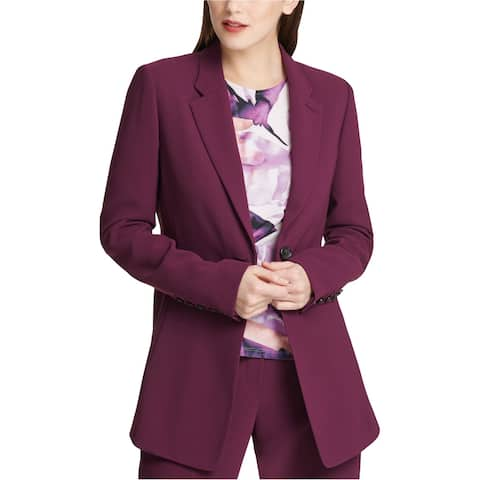 DKNY Womens Seam Front One Button Blazer Jacket, Purple, 2