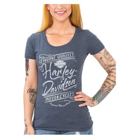 Harley-Davidson Women's Metallic Script Short Sleeve Scoop Neck Tee, Indigo