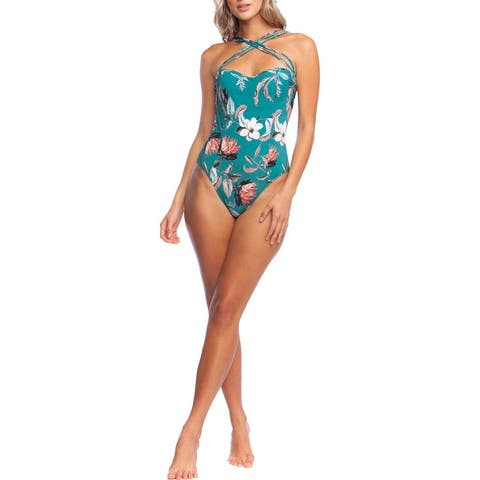 BCBG Max Azria Womens Floral Print Strappy One-Piece Swimsuit - Teal