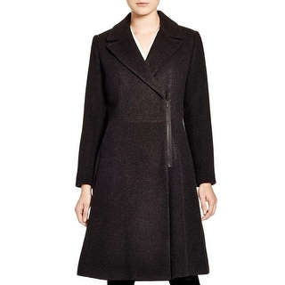 T Tahari Womens Top Coat Wool Blend Lined
