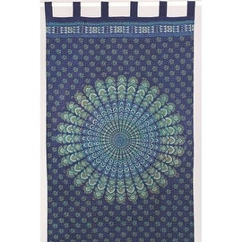 Handmade Sanganer Peacock Floral Design 100% Cotton Tab Top Curtain Drape Panel 44x88 in Blue and Red