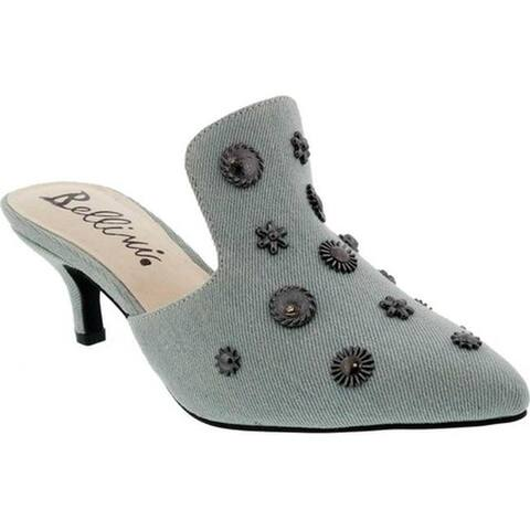 Bellini Women's Persian Kitten Heel Mule Blue Denim Fabric