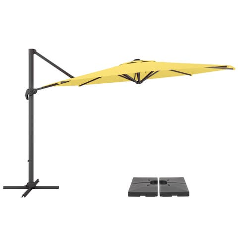 """CorLiving 11.5"""" UV Resistant Deluxe Yellow Patio Umbrella with Base"""