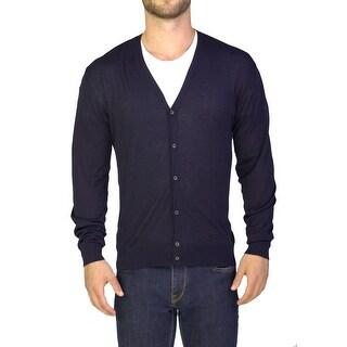 Prada Men's Cotton Cardigan Sweater Navy Blue