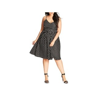 City Chic Womens Plus Casual Dress Polka Dot Fit & Flare B/W 18W