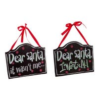 """Club Pack of 24 Red and Black Quoted Dear Santa Wall Hangings 7"""""""