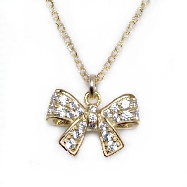 """Julieta Jewelry CZ Bow Gold Charm 16"""" Necklace"""