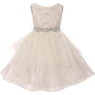 Flower Girl Dress Sequin Lace Top Ruffle Skirt Ivory MBK 357