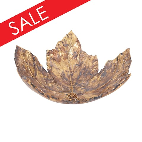 Antique Gold Maple Leaf Tray, Large - 4H x 11W x 9D