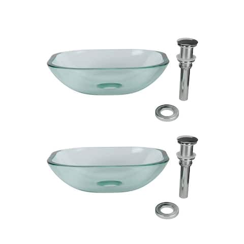 Renovator's Supply Tempered Glass Vessel Sink with Drain, Clear Square Mini Bowl Sink Set of 2