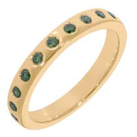 Prism Jewel 0.25Ct Flush Set Round Green Color Diamond Wedding Band, 3.00mm Wide