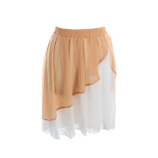 Studio M Peach White Colorblock Chiffon Skirt L