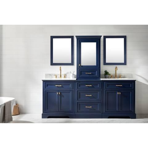 "Milano 84"" Double Sink Bathroom Vanity Modular Set in Blue"