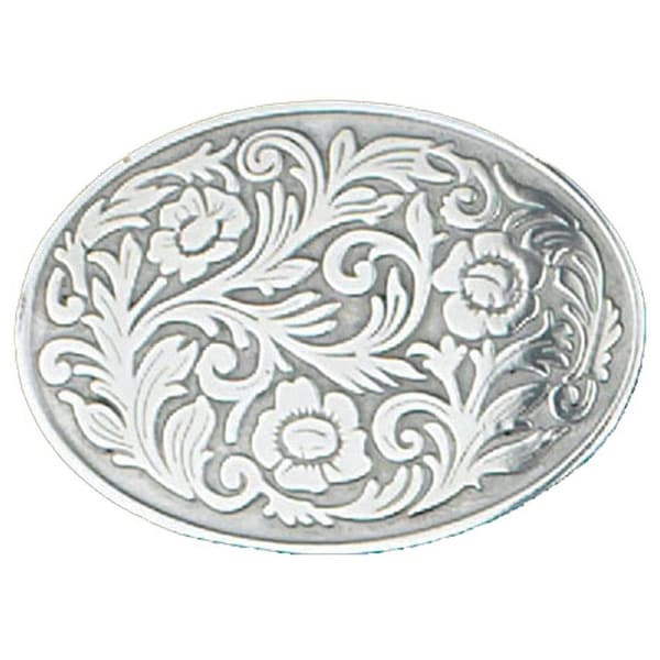 Silver Tone Floral Belt Buckle - One size