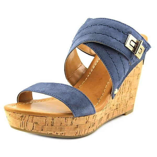 Tommy Hilfiger Mili Women Open Toe Suede Blue Wedge Sandal