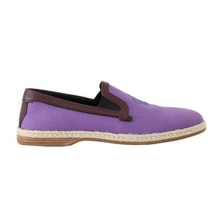 Dolce & Gabbana Purple Cotton Leather Crown Loafers - eu40-us7
