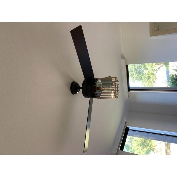 Top Product Reviews For Hunter Ronan Matte Black And Satin Copper 52 Inch 3 Rustic Grain Black Oak Grain Reversible Blades Ceiling Fan 14541628 Overstock