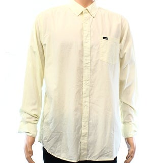 RVCA NEW Yellow Mens Size Small S Pocket Woven Button Down Shirt