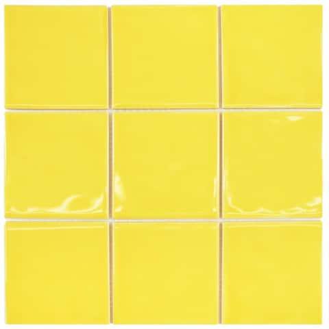 SomerTile 11.75x11.75-inch Curve Square Yellow Lemon Ceramic Mosaic Wall Tile