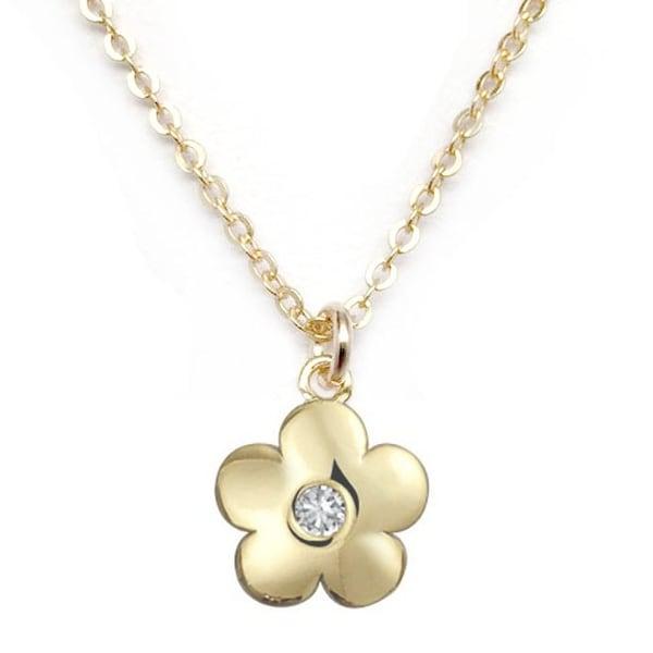 """Julieta Jewelry CZ Flower Gold Charm 16"""" Necklace"""