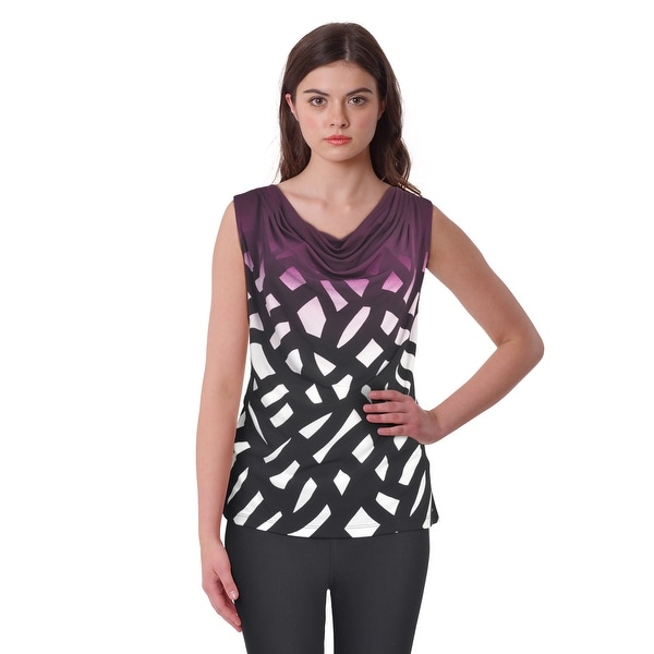 Calvin Klein Plus Size Draped Neck Patterned Blouse Shirt Top