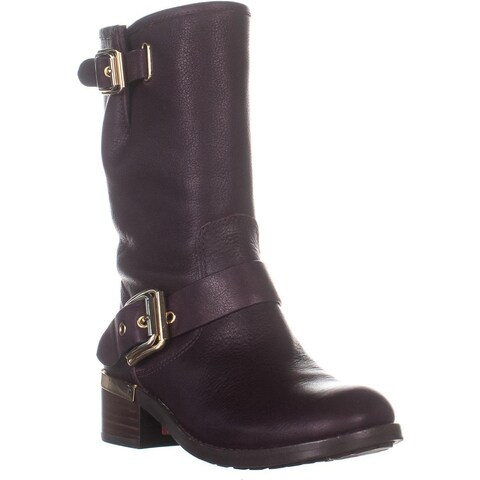 Vince Camuto Windy Mid-Calf Motorcycle Boots, Dark Wood - 6.5 US
