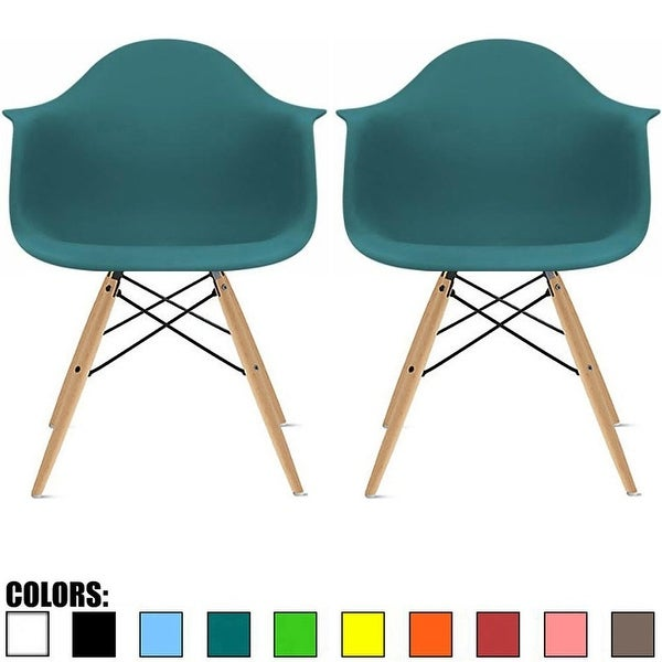 Shop 2xhome Set Of 2 Plastic Chair Molded Armchair Natural Wood