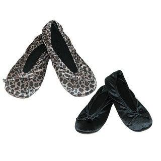Isotoner Women's Satin Classic Ballerina Slippers (Pack of 2)