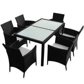 vidaXL Outdoor Dining Set 13 Pieces Wicker Black Garden Furniture