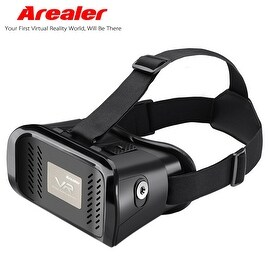 "Arealer VR Virtual Reality Glasses Headset 3D Glasses w/ Magnetic Switch Head-Mounted Headband for All 3.5 ~ 6.0"" Smart Phones"