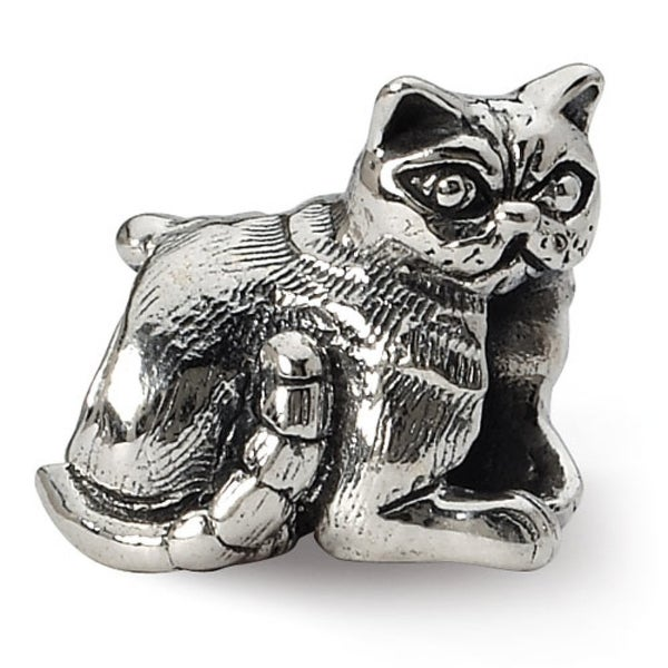 Sterling Silver Reflections Exotic Shorthair Cat Bead (4mm Diameter Hole)