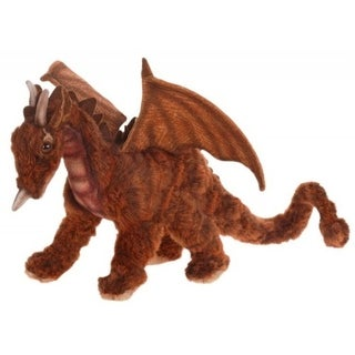 "Set of 2 Life-Like Handcrafted Extra Soft Plush Miniature Great Dragon 11.75"" - Brown"