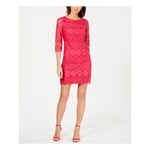 JESSICA HOWARD Pink 3/4 Sleeve Above The Knee Dress 16